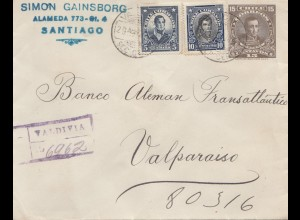 Chile: 1924: Registered Valdivia to Valparaiso