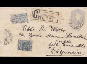 Chile: 1900: Registered Santiago - Valparaiso Certificado Ciudad - to Valpariso