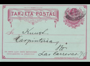 Chile: 1893: Santiago Tarjeta Postal to Las Carreras - Cancel !!!