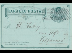 Chile: 1910: post card Santiago to Valparaiso