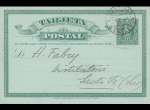 Chile: 1899: post card Santiago to Santa Fé