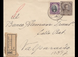 Chile: 1924: Registered letter Valparaiso