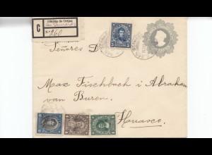 Chile: 1915: Registered letter to Huasco