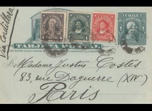 Chile: 1916: post card via cordillera to Paris