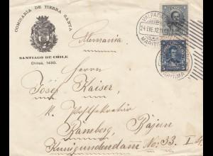 Chile: 1912: Valparaiso to Bamberg Comisaria de Tierra Santa