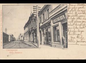 Chile: 1903: post card Concepcion Calle Comercio to Belgrade