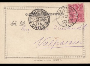 Chile: 1892: post card Santiago to Valparaiso