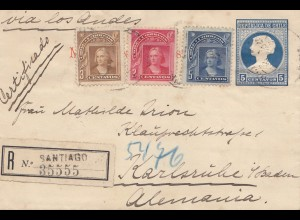 Chile: 1906: Registered Santiago to Karlsruhe
