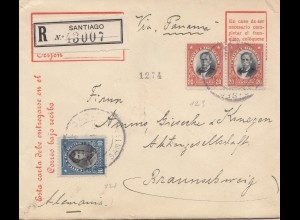 Chile: 1912: Registered Santiago to Braunschweig