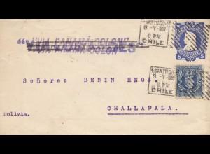 Chile: 1903: Santiago via Panama Colon to Challapala