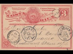 Costa Rica: 1893: post card to München