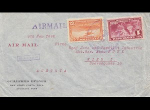 Costa Rica: 1937: San Jose to Viennea-Austria - Textil