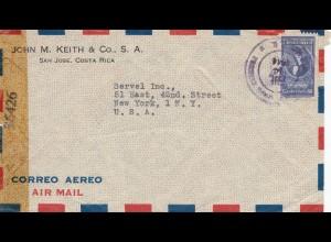 Costa Rica: 1944 San Jose to New York - Censor