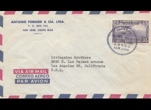 Costa Rica 1955: San Jose - Air Mail to Los Angeles