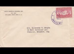 Costa Rica: 1940: San Jose to Claymont/Delaware
