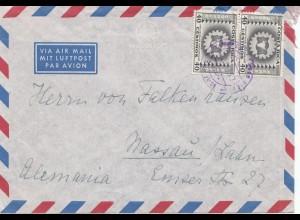 Costa Rica: 1957: Air Mail San Jose to Nassau/Lahn