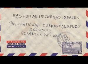 Costa Rica: 1954: Air Mail San Jose to Scranton