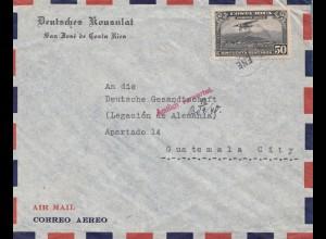 Costa Rica 1940: Deutsches Konsulat San Jose to Guatemala City-Amtlich verwertet