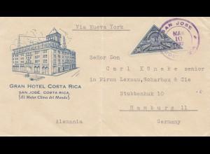 Costa Rica: 1937: San Jose Gran Hotel to Hamburg