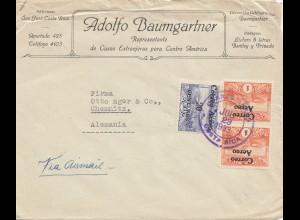 Costa Rica: 1933 San Jose Baumgartner to Chemnitz