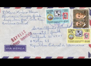 Costa Rica: 1977 letter Express San Jose to Köln