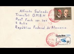 Costa Rica: 1977 air mail red cancel San Jose to Köln