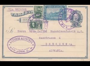 Costa Rica: 1925: post card San Jose via Bristol to Dresden