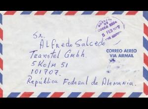 Costa Rica: 1977: letter Correo Aero via Air mail to Köln