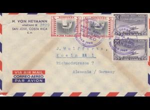 Costa Rica: 1958 air mail San Jose to Köln