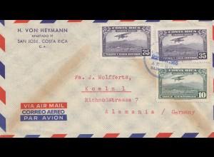Costa Rica: 1955 air mail San Jose to Köln
