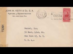 Costa Rica: 1944 air mail San Jose to New York - censor