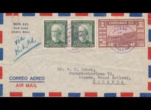 Costa Rica: 1949 air mail San Jose to Diemen/NL - via KLM