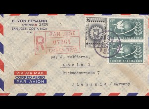 Costa Rica: 1955: Registered San Jose to Köln