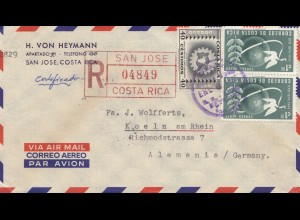 Costa Rica: 1955: Registered San Jose to Köln - von Heymann