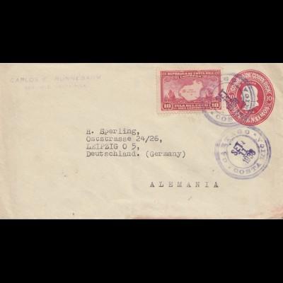 Costa Rica: 1938: San Jose Oartago to Leipzig