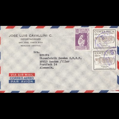Costa Rica: letter San Jose to Europa - Uhrenfabrik Senden