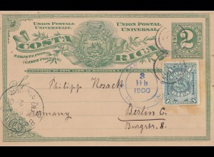 Costa Rica: 1900 post card San Jose to Berlin