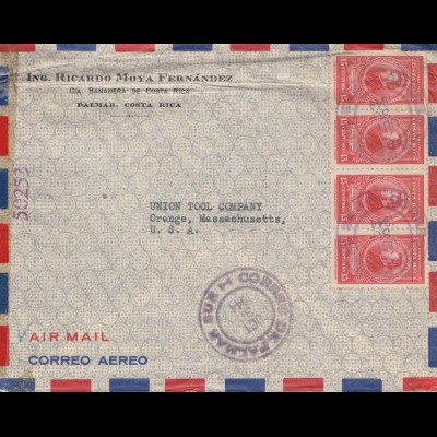 Costa Rica: 1944: Palmar to Orange-Mass. USA