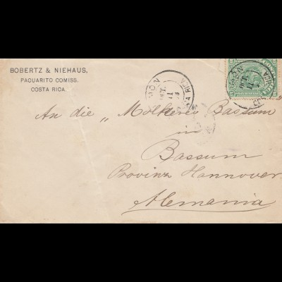 Costa Rica: 1893: Limon to Molkerei Bassum/Germany