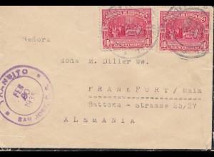 Costa Rica: 1935: Alajuela to Frankfurt - Transito