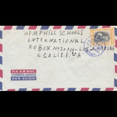 Costa Rica: 1955: Aero cancel to Hemphill schools Los Angeles