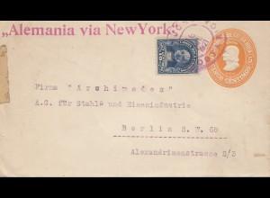 Costa Rica: 1921: San Jose to Berlin - Alemania via New York - steel industries