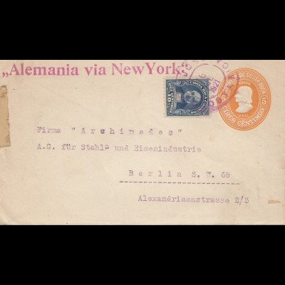 Costa Rica: 1921: San Jose to Berlin - Alemania via New York - steel industries