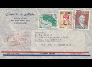 Costa Rica: 1967: San Jose Registered to Vienna