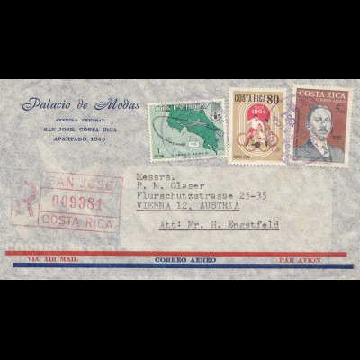 Costa Rica: 1967: San Jose Registered to Vienna