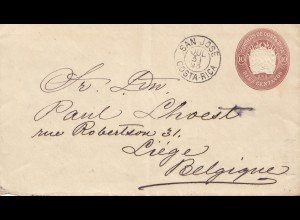 Costa Rica: 1893: San Jose to Liege/Belgium