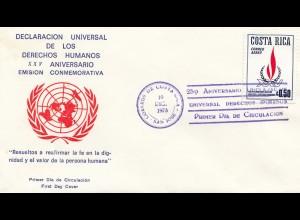 Costa Rica: 1973: Declaracion Universal de los Derechos Humanos XXV Aniversario