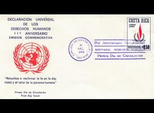 Costa Rica 1973: Declaracion Universal de los Derechos Humanos; XXV. Aniversario