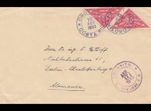 Costa Rica: 1933: Orotina/San Jose to Berlin