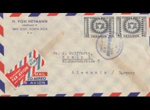Costa Rica: 1955: San Jose via Air Mail to Köln